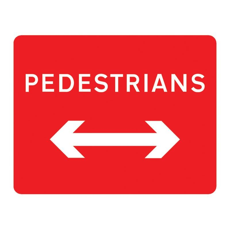 Pedestrians Left / Right Reversible Metal Road Sign Plate - 600 x 450mm