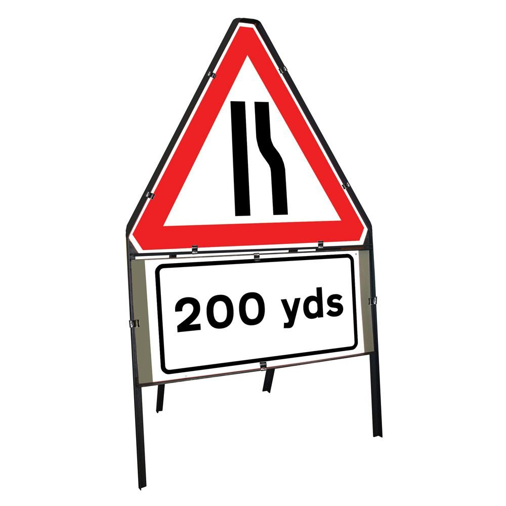 Road Narrows Offside Clipped Triangular Metal Road Sign with 200 Yards Supplement Plate - 750mm