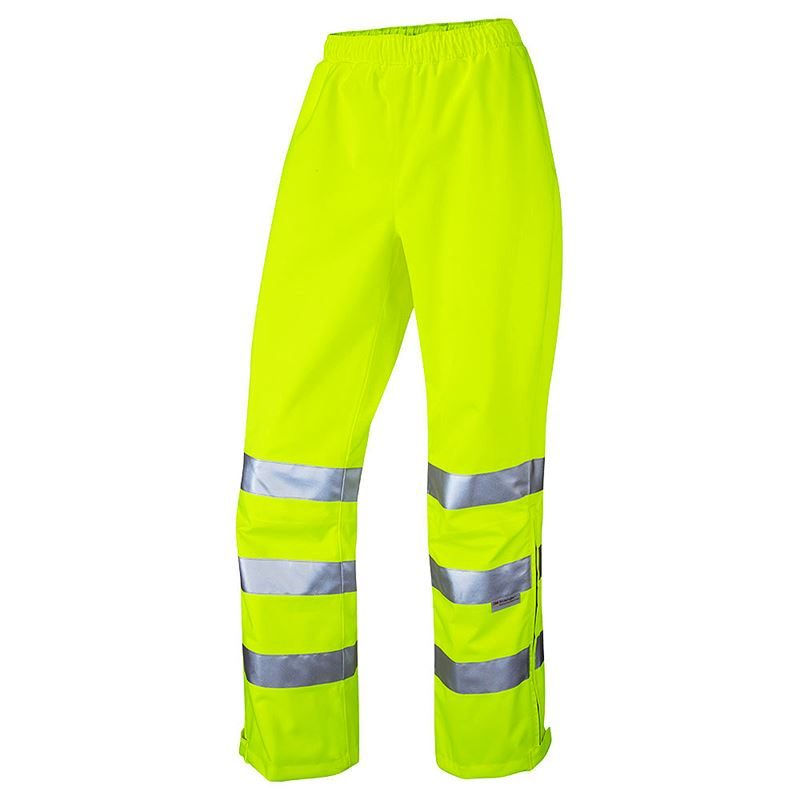 Leo Hannaford Women's Waterproof Breathable Hi Vis Class 2 Yellow Overtrousers