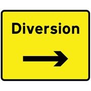 Diversion Right Metal Road Sign Plate - 1050 x 750mm