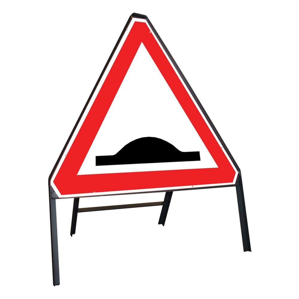 Humps Riveted Triangular Metal Road Sign - 750mm