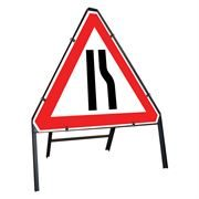 Road Narrows Nearside / Offside Reversible Clipped Triangular Metal Road Sign - 750mm