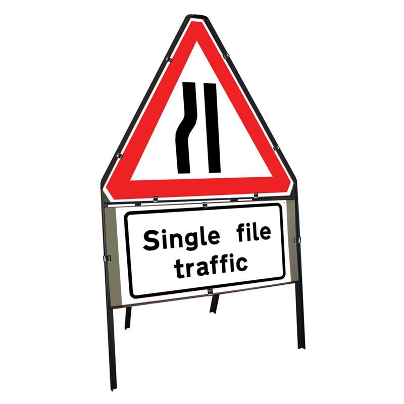 Road Narrows Nearside Clipped Triangular Metal Road Sign with Single File Traffic Supplement Plate - 750mm