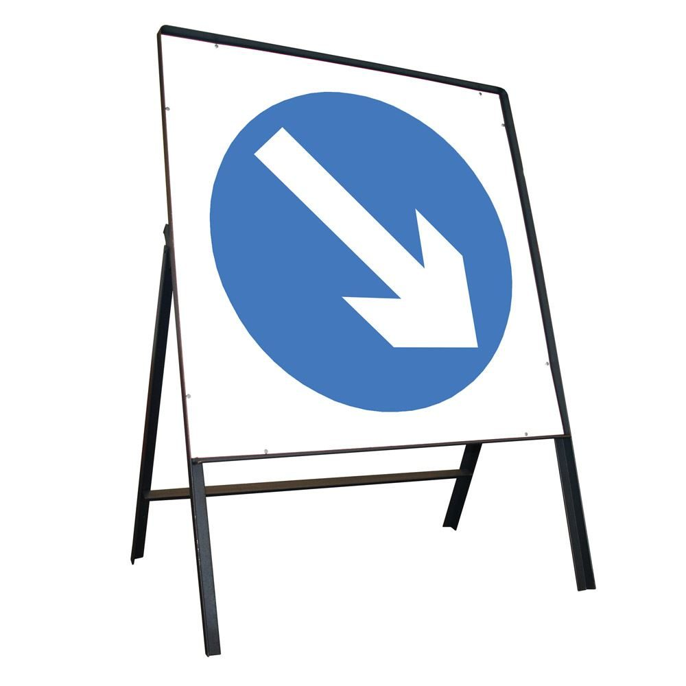 Keep Right Riveted Square Metal Road Sign - 600mm