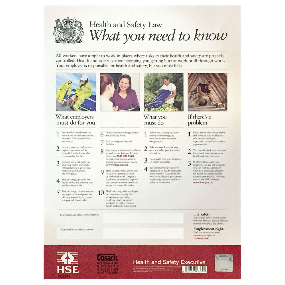 Health and Safety Law Poster - 600 x 425mm