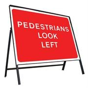 Pedestrians Look Left Riveted Metal Road Sign - 600 x 450mm