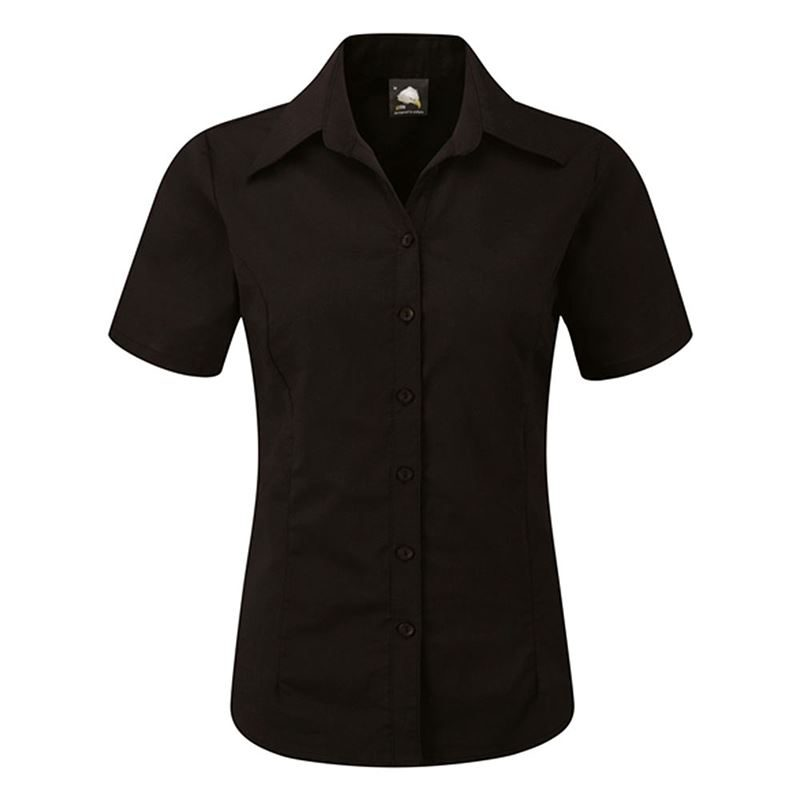 Orn Oxford Ladies' Short Sleeve Blouse - 130gsm - Black