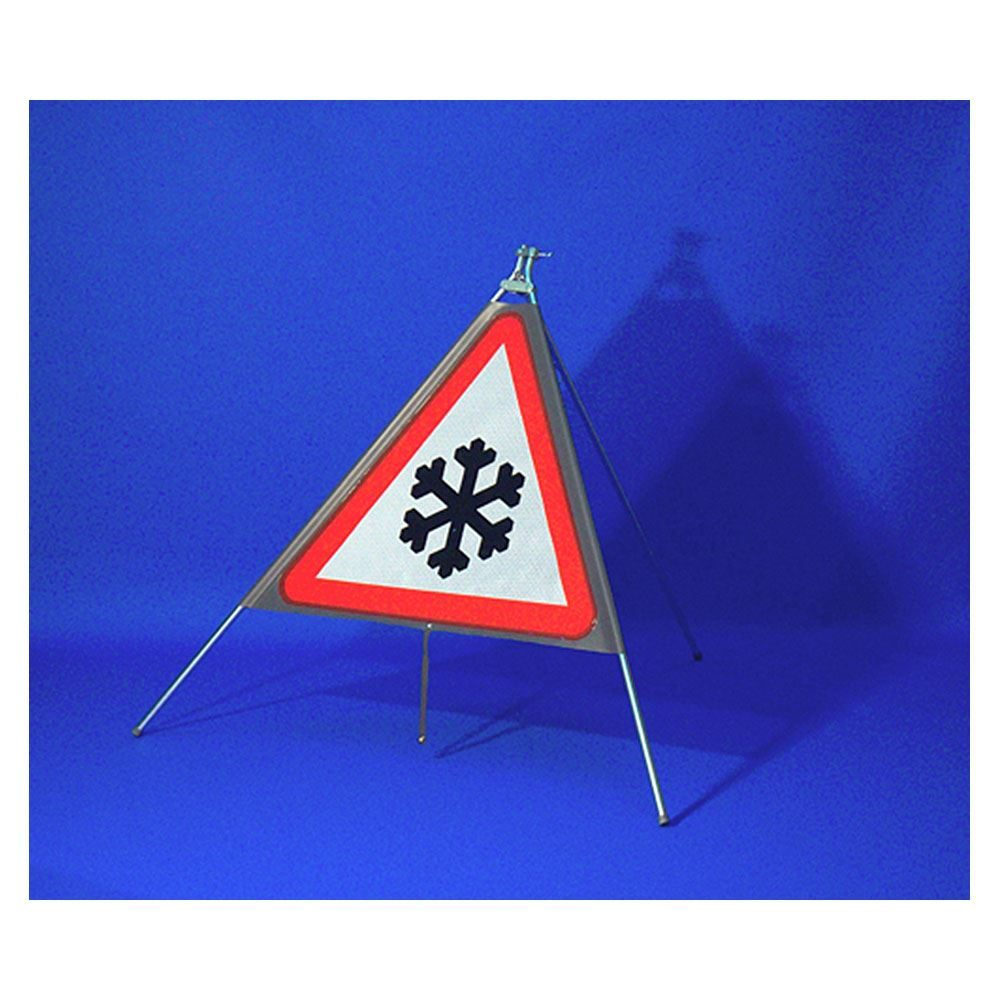 Classic Ice Triangular Roll Up Road Sign - 750mm