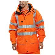 Rail Waterproof Breathable Hi Vis Class 3 Orange Anorak