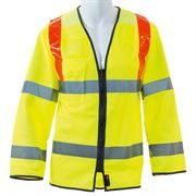 Hi Vis Class 3 Red Braced Long Sleeve Zip Yellow Jerkin