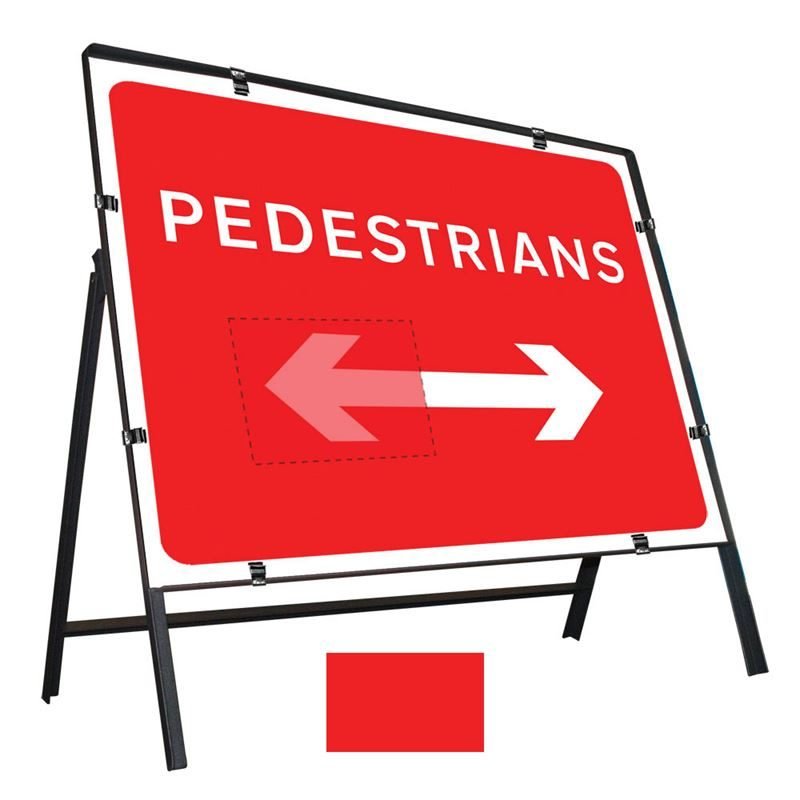 Pedestrians Left / Right Reversible Clipped Metal Road Sign - 600 x 450mm