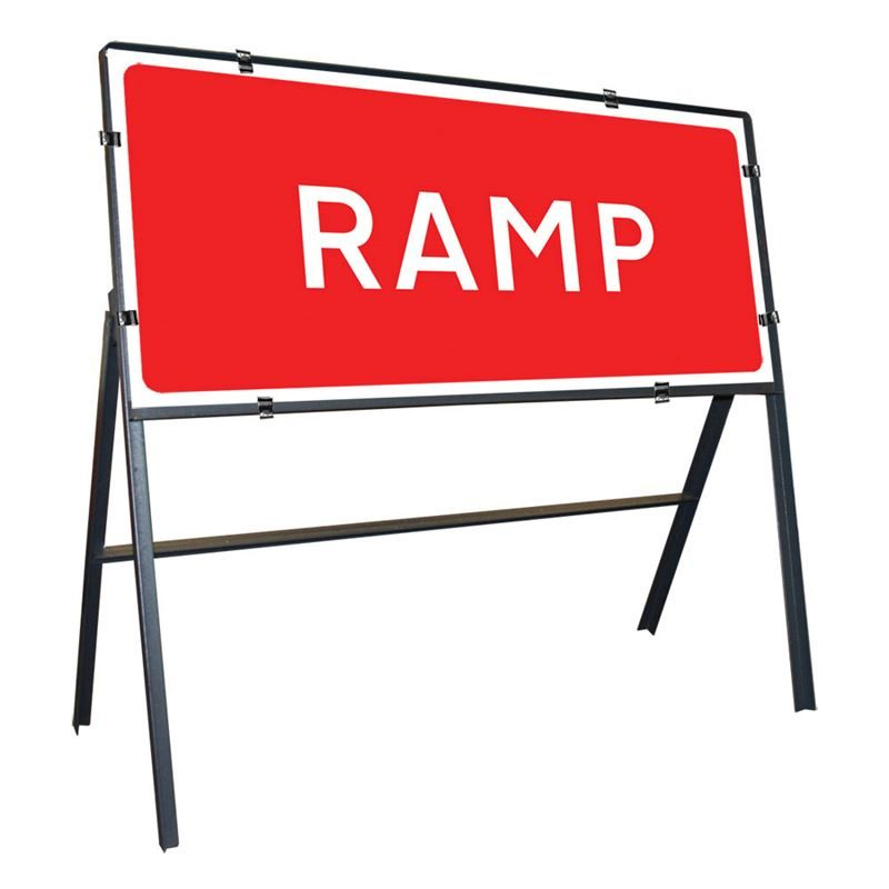 Ramp Clipped Metal Road Sign - 1050 x 450mm