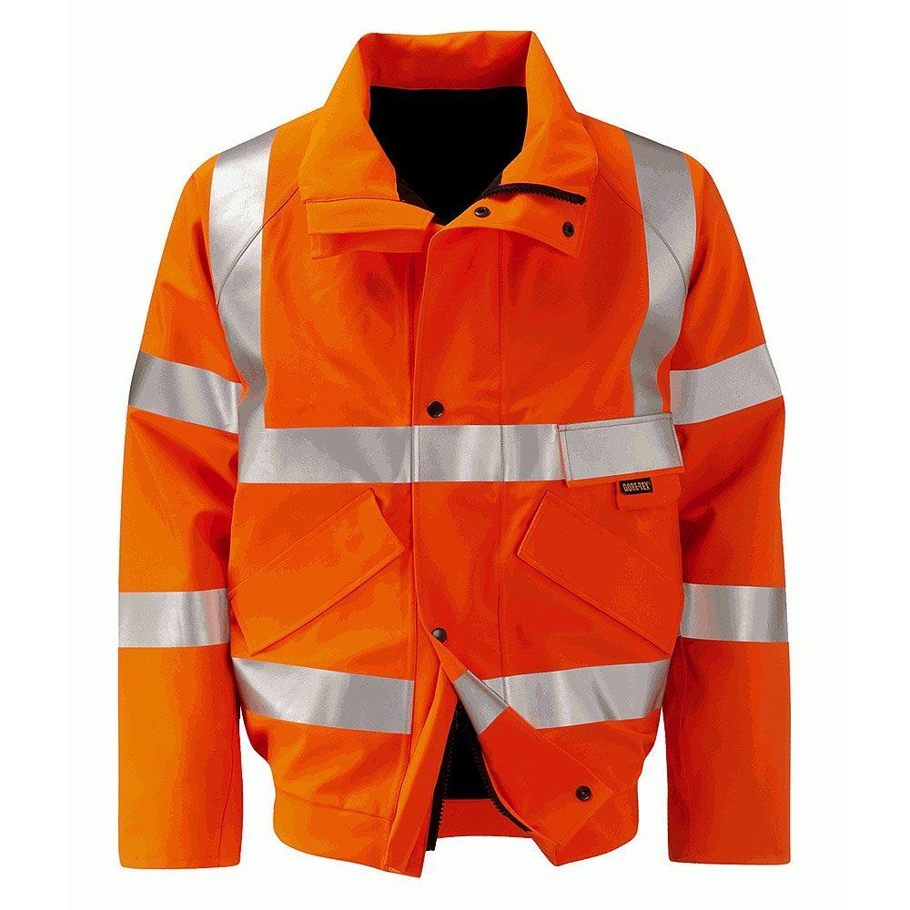 Orbit International Colorado Gore-Tex Rail Waterproof Breathable Hi Vis Orange Bomber Jacket