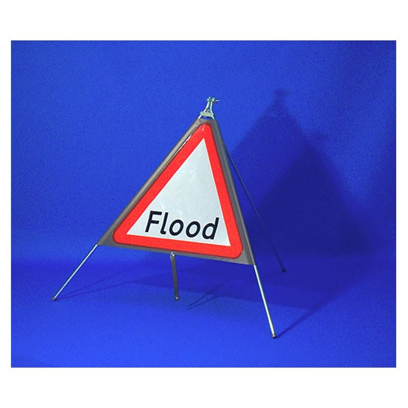 Classic Flood Triangular Roll Up Road Sign - 750mmp Road Sign - 750mm