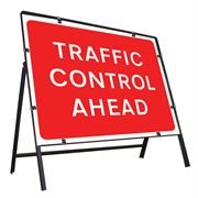 Traffic Control Ahead Clipped Metal Road Sign - 1050 x 750mm