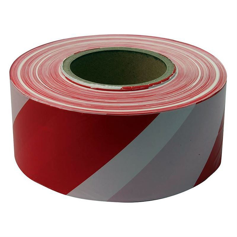Warning Tape - Non-Adhesive - Red/White - 500m x 50mm
