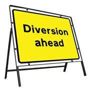 Diversion Ahead Clipped Metal Road Sign - 1050 x 750mm