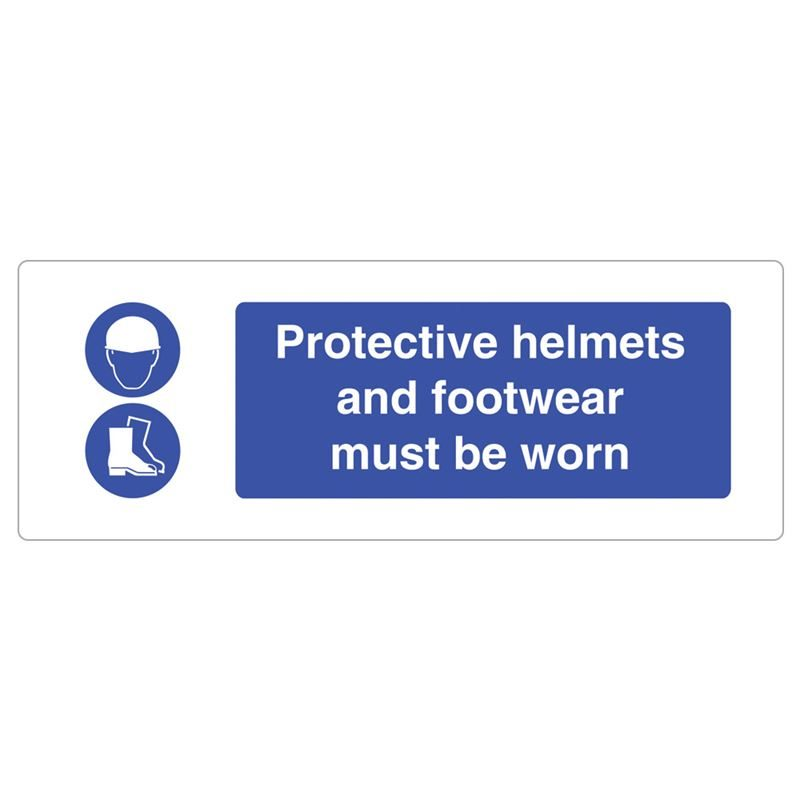 Protective Helmets and Footwear Must Be Worn Sign - 600 x 200 x 1mm