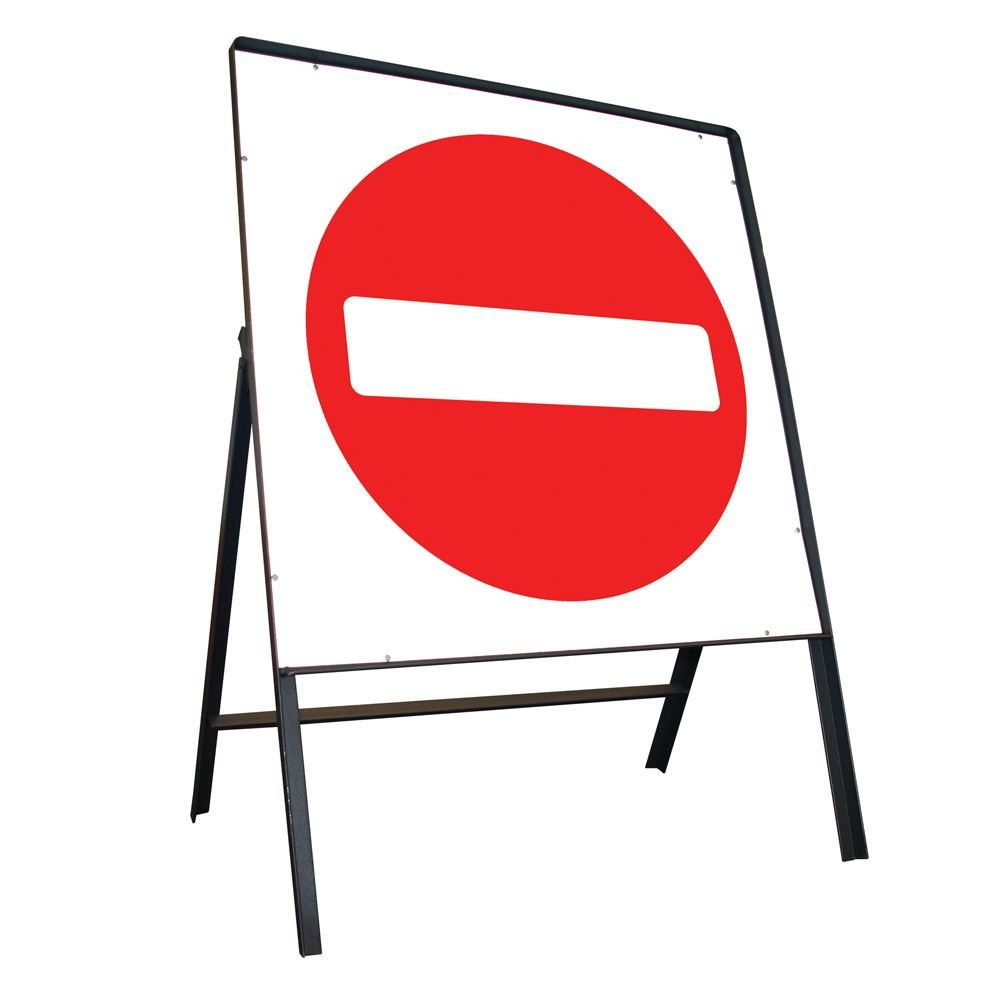 No Entry Riveted Square Metal Road Sign - 750mm