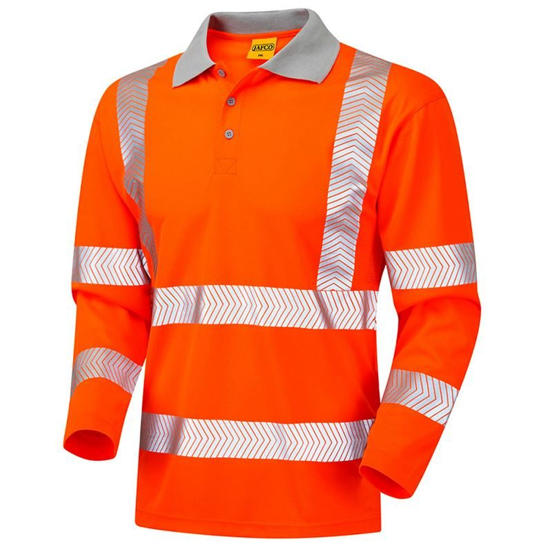 Jafco Rail Hi Vis Class 3 Long Sleeve Orange Polo Shirt