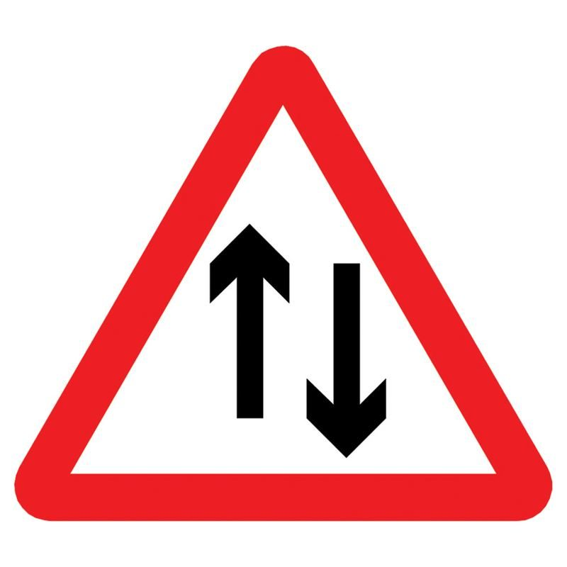 Two Way Traffic Triangular Metal Road Sign Plate - 1200mm