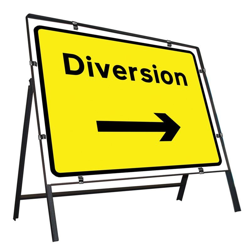 Diversion Right Clipped Metal Road Sign - 1050 x 750mm
