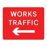 Works Traffic Left Metal Road Sign Plate - 1050 x 750mm