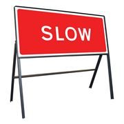 Slow Riveted Metal Road Sign - 1050 x 450mm