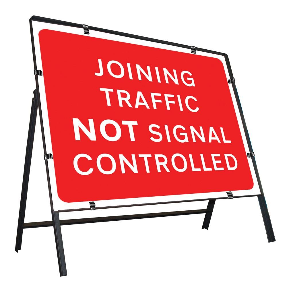Joining Traffic Not Signal Controlled Clipped Metal Road Sign - 1050 x 750mm