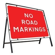 No Road Markings Clipped Metal Road Sign - 1050 x 750mm