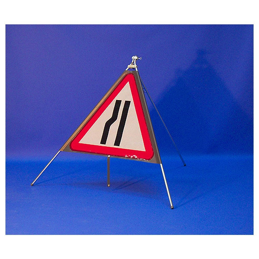 Classic Road Narrows Nearside Triangular Roll Up Road Sign - 750mm