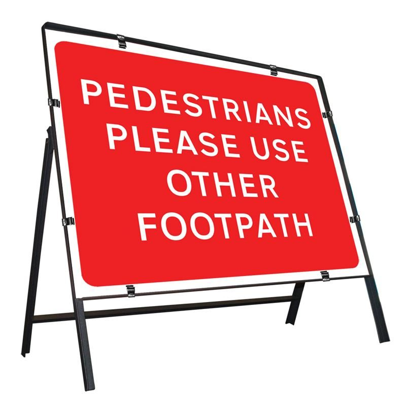 Pedestrians Please Use Other Footpath Clipped Metal Road Sign - 600 x 450mm