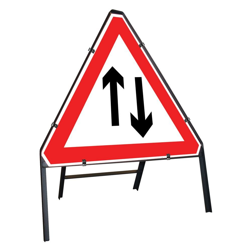 Two Way Traffic Clipped Triangular Metal Road Sign - 750mm