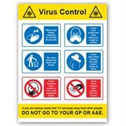 Virus Control PVC Sign - 450mm x 600mm x 1mm