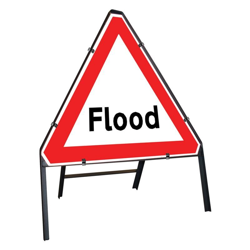 Flood Clipped Triangular Metal Road Sign - 750mm