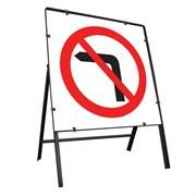 No Left Turn Clipped Square Metal Road Sign - 750mm