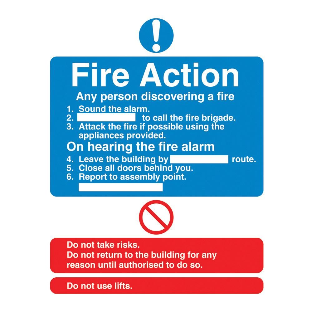 Fire Action Sign - 200 x 250 x 1mm