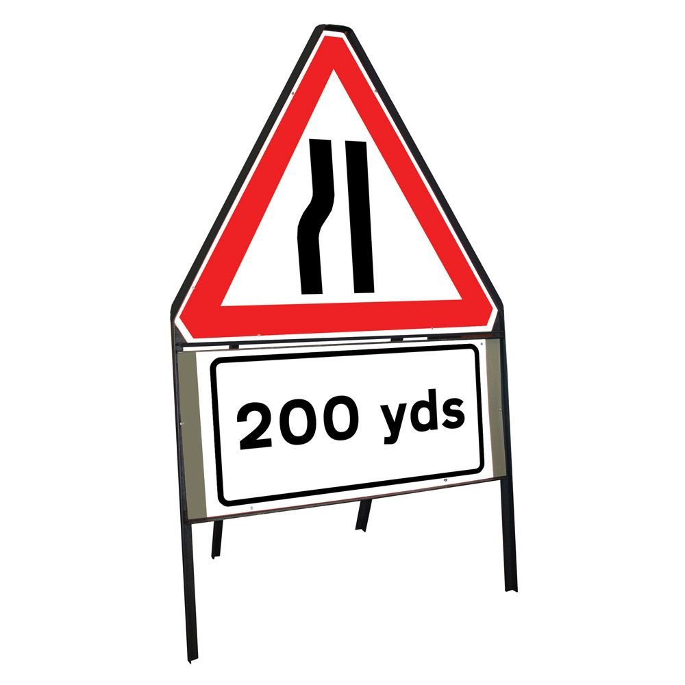 Road Narrows Nearside Riveted Triangular Metal Road Sign with 200 Yards Supplement Plate - 750mm