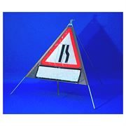 Classic Triangular Roll Up Road Signs with Supplement Plates - 750mm