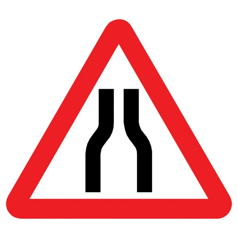 Road Narrows Both Sides Triangular Metal Road Sign Plate - 600mm