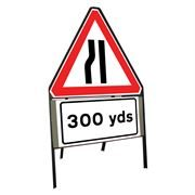 Road Narrows Nearside Riveted Triangular Metal Road Sign with 300 Yards Supplement Plate - 900mm