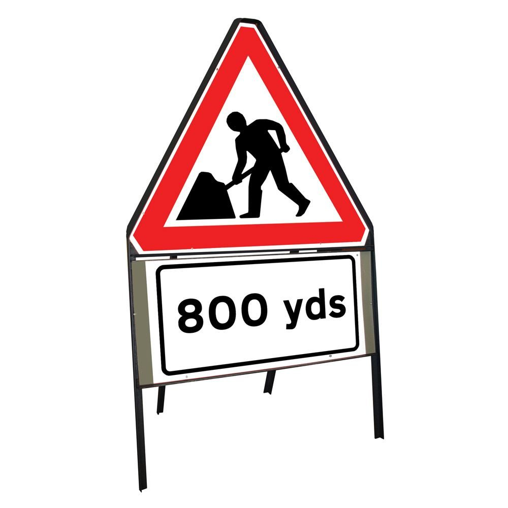 Men at Work Roadworks Riveted Triangular Metal Road Sign with 800 Yards Supplement Plate - 900mm