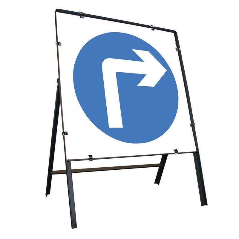 Turn Right Ahead Clipped Square Metal Road Sign - 750mm