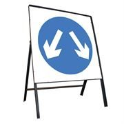 Pass Either Side Riveted Square Metal Road Sign - 750mm