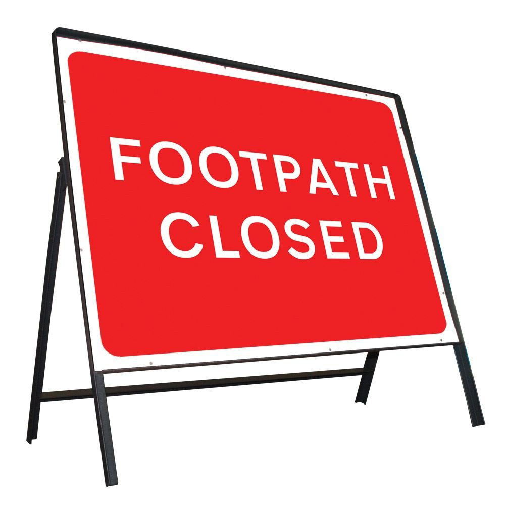 Footpath Closed Riveted Metal Road Sign - 600 x 450mm