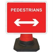 Hangman Pedestrians Left / Right Reversible Cone Sign - 600 x 450mm