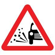 Loose Chippings Triangular Metal Road Sign Plate - 900mm