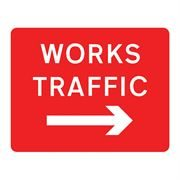 Works Traffic Right Metal Road Sign Plate - 1050 x 750mm