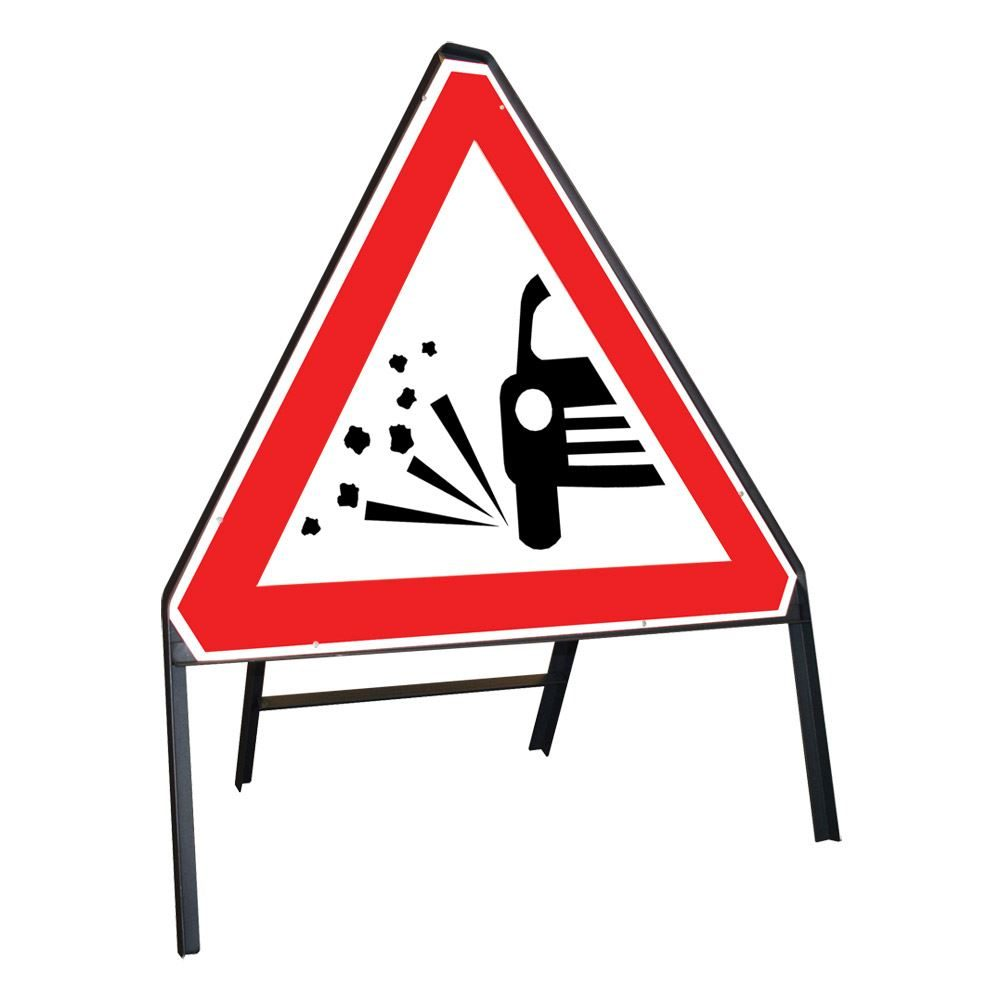 Loose Chippings Riveted Triangular Metal Road Sign - 750mm