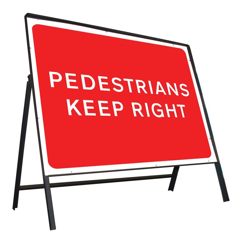 Pedestrians Keep Right Riveted Metal Road Sign - 600 x 450mm